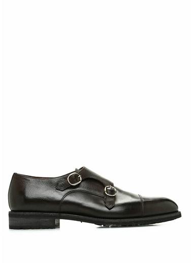 Santoni Çift Tokalı Deri Ayakkabı Kahve